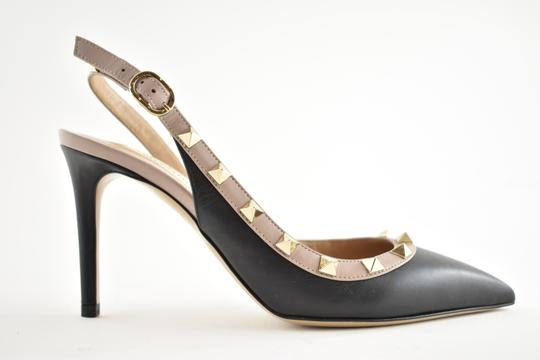 Valentino Studded Pointed Toe Leather Ankle Strap Branded Insole black Pumps Image 1