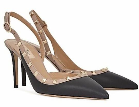 Valentino Studded Pointed Toe Leather Ankle Strap Branded Insole black Pumps Image 2