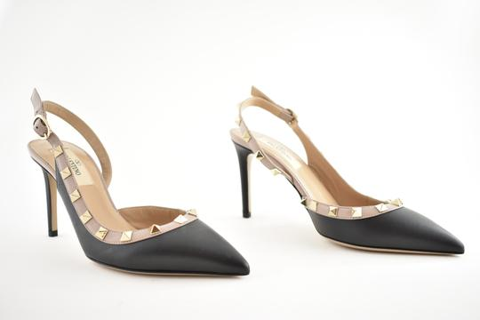 Valentino Studded Pointed Toe Leather Ankle Strap Branded Insole black Pumps Image 3