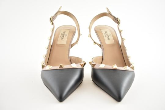Valentino Studded Pointed Toe Leather Ankle Strap Branded Insole black Pumps Image 4