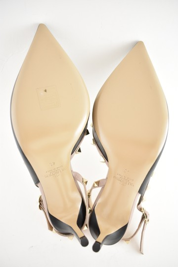Valentino Studded Pointed Toe Leather Ankle Strap Branded Insole black Pumps Image 9