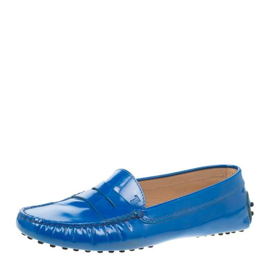 Tod's Patent Leather Blue Flats Image 1
