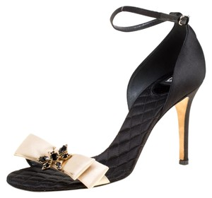Dolce&Gabbana Satin Leather Ankle Strap Open Toe Black Sandals
