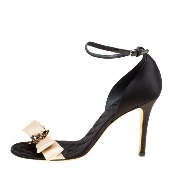 Dolce&Gabbana Satin Leather Ankle Strap Open Toe Black Sandals Image 1