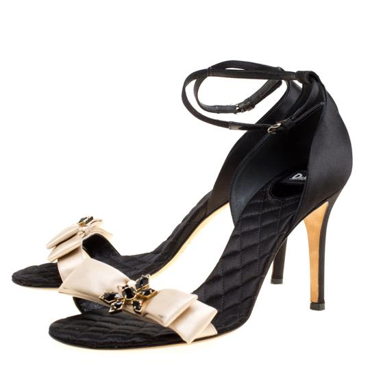 Dolce&Gabbana Satin Leather Ankle Strap Open Toe Black Sandals Image 3