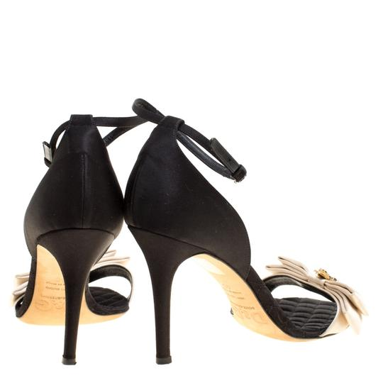 Dolce&Gabbana Satin Leather Ankle Strap Open Toe Black Sandals Image 4