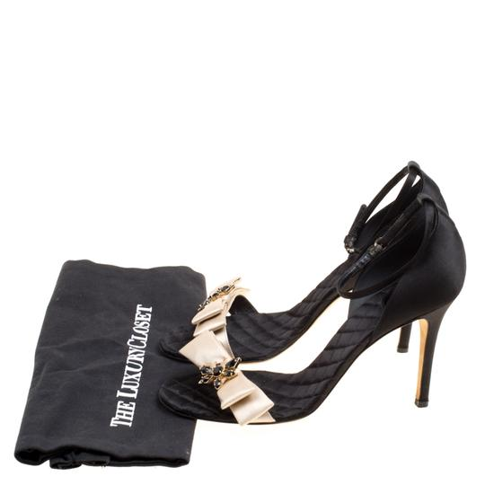 Dolce&Gabbana Satin Leather Ankle Strap Open Toe Black Sandals Image 7