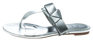 Alexander McQueen Metallic Leather Silver Flats