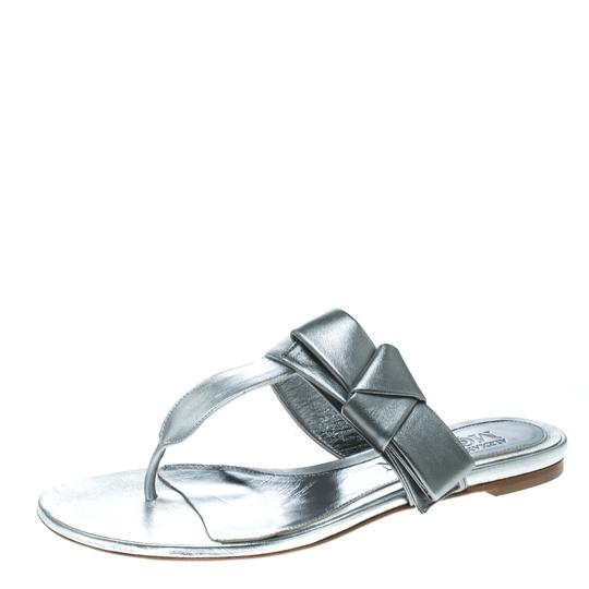Alexander McQueen Metallic Leather Silver Flats Image 1