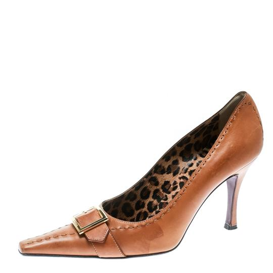 Dolce&Gabbana Leather Detail Pointed Toe Beige Pumps Image 1