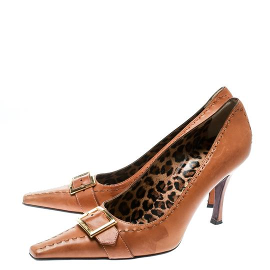 Dolce&Gabbana Leather Detail Pointed Toe Beige Pumps Image 3