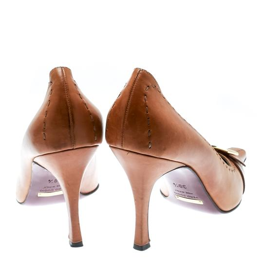 Dolce&Gabbana Leather Detail Pointed Toe Beige Pumps Image 5