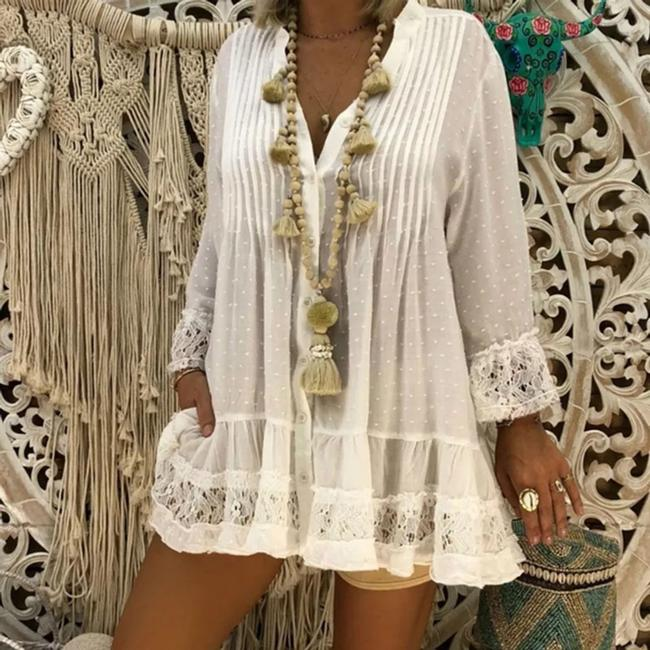 Laimee Peasant Beach Summer Chiffon V-neck Loose Top White Image 0