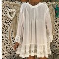 Laimee Peasant Beach Summer Chiffon V-neck Loose Top White Image 1