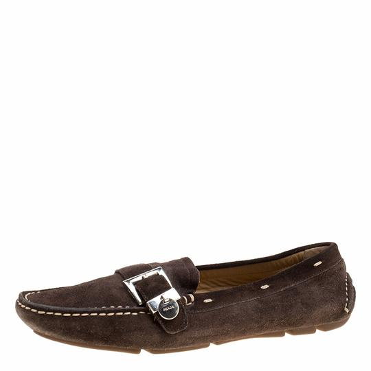 Prada Leather Suede Brown Flats Image 1