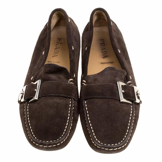 Prada Leather Suede Brown Flats Image 2