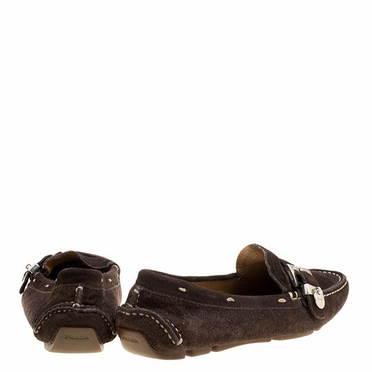 Prada Leather Suede Brown Flats Image 3