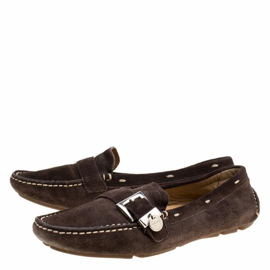 Prada Leather Suede Brown Flats Image 4