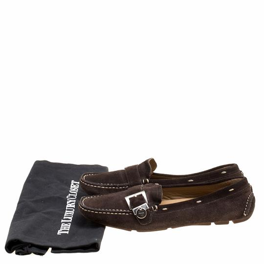 Prada Leather Suede Brown Flats Image 7