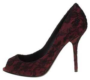 Dolce&Gabbana Leather Satin Lace Peep Toe Burgundy Pumps