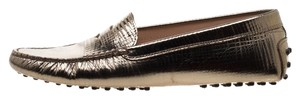 Tod's Leather Rubber Textured Metallic Flats