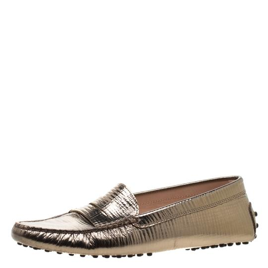 Tod's Leather Rubber Textured Metallic Flats Image 1
