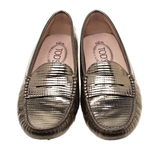Tod's Leather Rubber Textured Metallic Flats Image 2