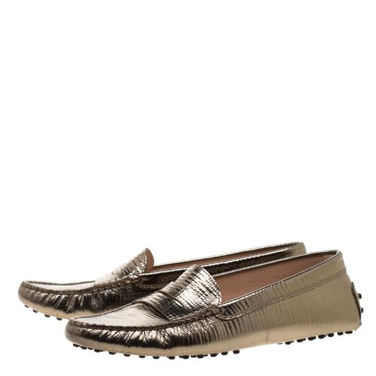 Tod's Leather Rubber Textured Metallic Flats Image 3