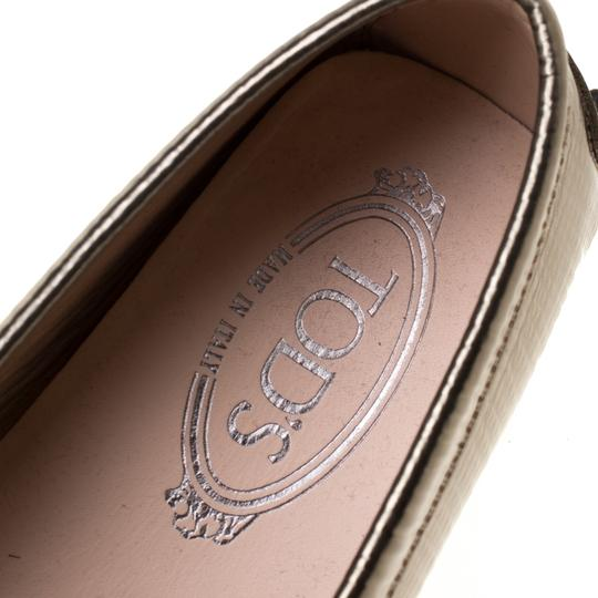 Tod's Leather Rubber Textured Metallic Flats Image 6