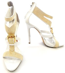 Giuseppe Zanotti Studded Leather Jeweled Strappy white Sandals