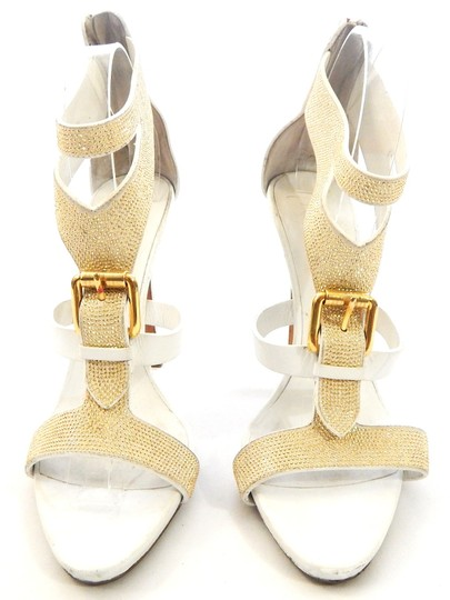Giuseppe Zanotti Studded Leather Jeweled Strappy white Sandals Image 2