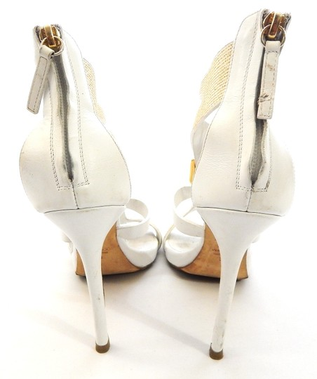 Giuseppe Zanotti Studded Leather Jeweled Strappy white Sandals Image 3