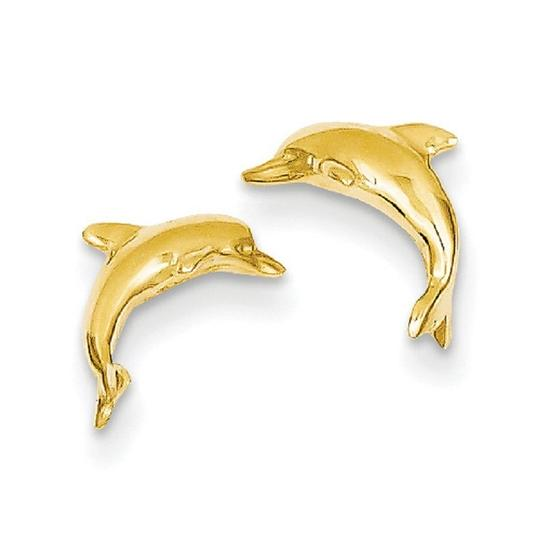 Apples of Gold 14K GOLD DOLPHIN STUD EARRINGS Image 2
