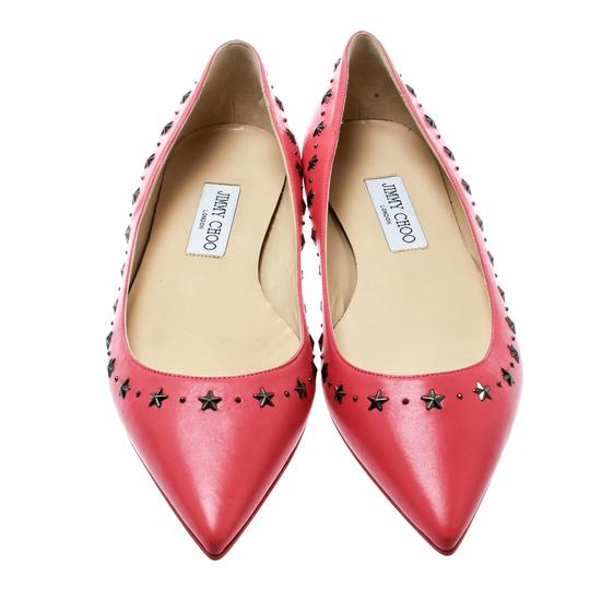 Jimmy Choo Leather Embellished Pointed Toe Pink Flats Image 2