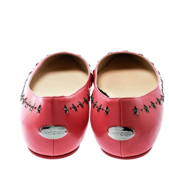 Jimmy Choo Leather Embellished Pointed Toe Pink Flats Image 4