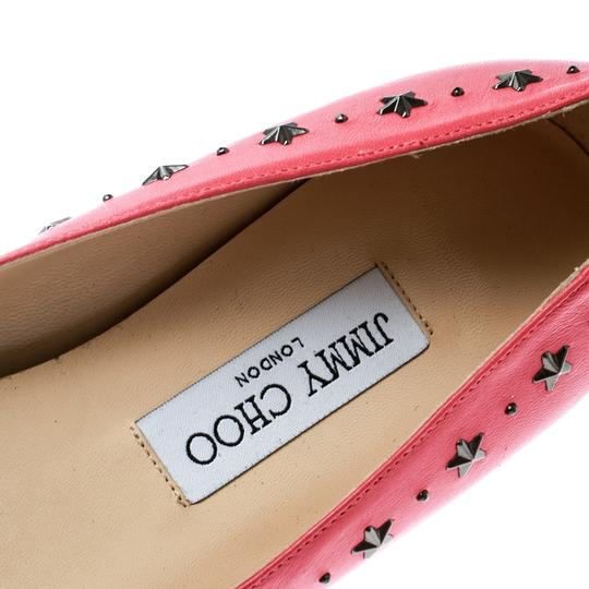 Jimmy Choo Leather Embellished Pointed Toe Pink Flats Image 6