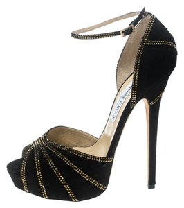 Jimmy Choo Leather Suede Embellished Ankle Strap Black Sandals