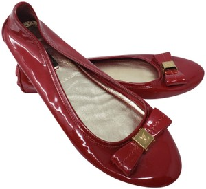 Louis Vuitton Lv Logo Charm Gold Hardware Patent Leather Red Flats