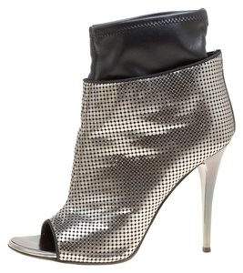 Giuseppe Zanotti Leather Peep Toe Perforated Metallic Boots