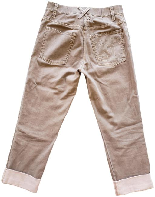 Item - Beige Light Wash Brown Interlocking Cc Print Mid-rise Capri/Cropped Jeans Size 26 (2, XS)