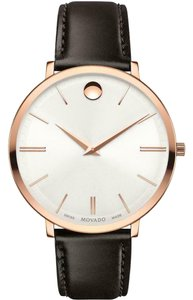 Movado Movado Women's Ultra Slim Silver Dial/Brown Leather Watch 0607093