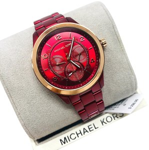 Michael Kors NEW Women's Runway Chronograph Red Coated Stainless Steel Watch MK6594
