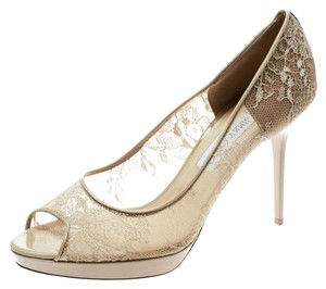 Jimmy Choo Lace Leather Patent Leather Mesh Beige Pumps