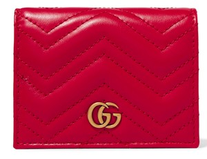 Gucci NEW GUCCI MARMONT GG RED LEATHER GG FLAP SMALL WALLET BAG