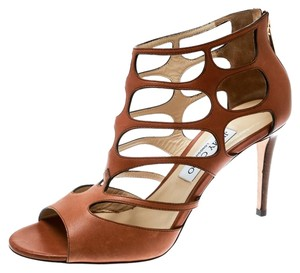Jimmy Choo Leather Cut-out Brown Sandals