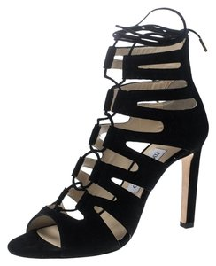 Jimmy Choo Suede Leather Cut-out Lace Black Sandals
