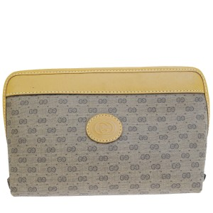 Gucci GUCCI GG Logo Cosmetic Pouch Hand Bag PVC Leather Brown