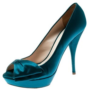 Prada Satin Leather Platform Blue Pumps