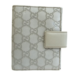 Gucci GUCCI GG Pattern Agenda Cover Day Planner Leather White Italy