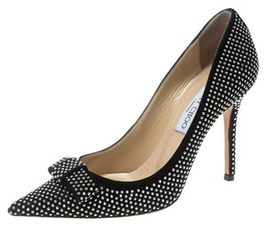 Jimmy Choo Studded Suede Leather Black Pumps